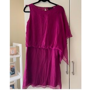 BCBG Off the shoulder magenta cocktail dress